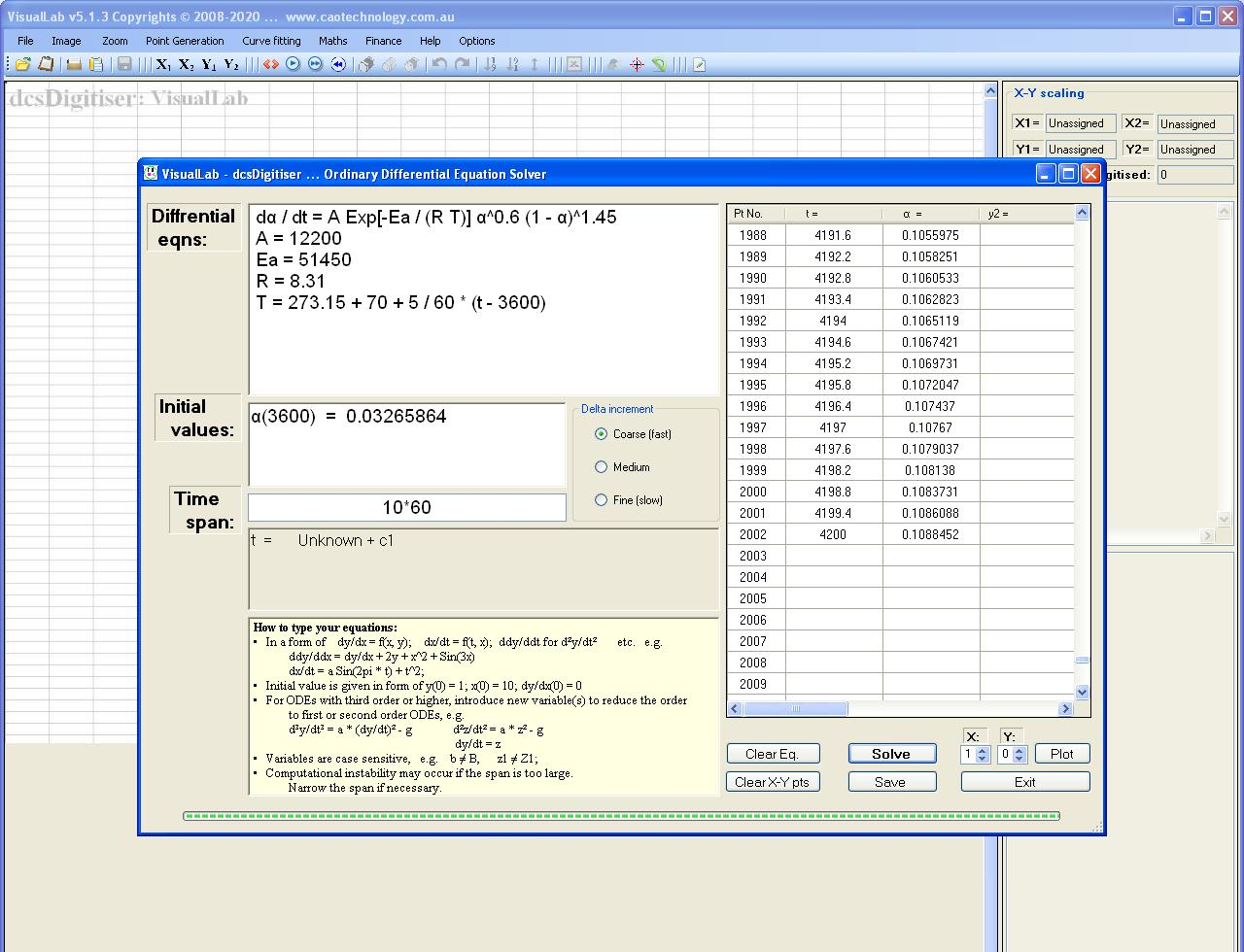 VisualLab computes Arrhenius equation